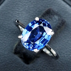 Sapphire Kashmir Blue Ring Oval 925 Sterling Silver White Gold Plate 08