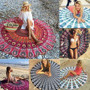 Mandala Round Blankets Indian Beach Bohemian Hippie Yoga Mat Floor Rug Indoor Y
