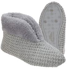 Dearfoams Women's Textured Knit Bootie Slipper Gray Sz L 9-10 Indoor or Outdoor