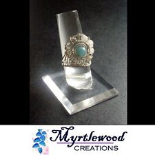 Quartz Wire-Wrap Ring - Silver-Filled Myrtlewood's Handmade - Amazonite &