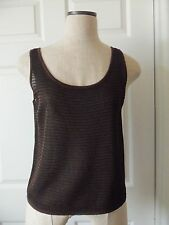 Ellen Tracy Linda Allard Black Copper Metallic Sheer Rayon Knit Sweater - M