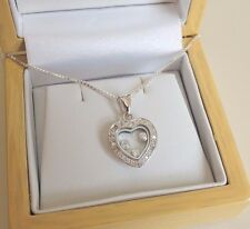Sterling Silver Floating Heart Pendant Necklace