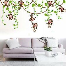 Jungle Animal Zoo Monkey Bird Wall Stickers Removable Decals Kids Nursery Decor