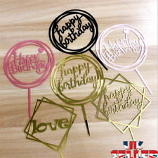 New Love Happy Birthday Cake Topper Card Acrylic Party Decor Supplies Multi UK