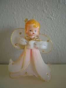 "Vintage Chenille/Tulle Angel Christmas Ornament Celluloid Head PINK 3"" ~JAPAN"