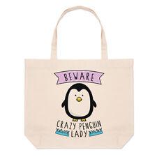 Tenga cuidado con Crazy Pingüino Dama Bolsón Bolso de Playa Grande-hombro animales graciosos