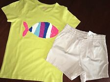 9/10 NWT Outfit Mini Boden Mustard Sequin Fish Tee & Tan Paper Bag Shorts TCP