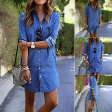 Womens Longline Denim Shirt Dress Ladies Jean Dresses Size 6 8 10 12 14 Blue Top