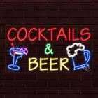 "BRAND NEW ""COCKTAILS & BEER"" w/LOGO 37x20X1 INCH LED FLEX INDOOR SIGN 31678"