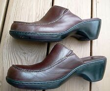 CLARKS BROWN LEATHER CLOGS LADIES SIZE 11 M