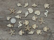 50 piece mix Under the Sea wood shapes embellishments crafts marine life fish