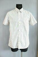 Tommy Hilfiger BNWT White Pinstriped Collared Slim Short Sleeve Men Shirt Size L