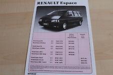 142354) Renault Espace J11 - Preise & Extras - Prospekt 09/1990