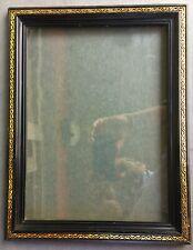 large vintage 11 x 14 Napoleon III black & gold wood frame ca 1865 + glass cadre