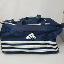 Vtg Adidas Duffel Gym Tote Bag Blue White Nylon Tennis Sports Track Trefoil 90s