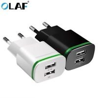 2.1A 2 USB Port Wall Charger US/EU Plug Power Adapter For iPhone Android Samsung