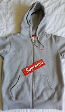 Supreme Small Box Logo Zip Up Hooded Sweatshirt - Size M Medium - Gray - FW17