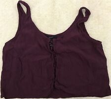 Juniors Forever 21 Lace Front Tank Top Burgandy Size Medium(UBJTFB)