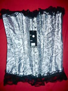 Silver Grey Overbust Boned Corset Burlesque Basque Tops Lace-Up Costume Size XL