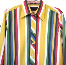 Brittania Striped Button Front Shirt Men's Large Yellow Red Blue Green VTG 80s