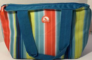 Igloo Insulated Lunch Bag Striped Teal Blue Orange 12x8x6 School Picnic Travel