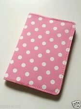 FOR BID PINK passport holder WHITE POLKA DOTS cover case girl cute women gifts