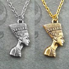 Egipto Faraón reina Nefertiti retrato de Cabeza Colgante Collar Joyería neckchain