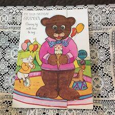 Vintage Greeting Card Birthday Grandpa Bear Ice Cream Balloons