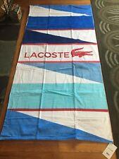 "Lacoste Blue/Multi Wind Beach Towel 100% Cotton NWT 36""x 72"" Authentic!!!"