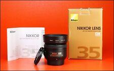Nikon AF-Enfoque automático 35mm F1.8 G DX S Nikkor Frente Y Parte Trasera Lente Tapas Lente Y Caja