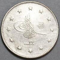 1901 Turkey 2 Kurush 1293/27 Ottoman Empire Sultan Silver Coin (19100501R)