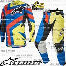 "Alpinestars 2016 Techstar Factory Blue Yellow Flo Red Kit XL Jersey 36"" Pant MX"