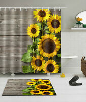 "71"" Sun Sunflower Fabric Shower Curtain Set Bathroom Curtains Hooks Bath Mat Rug"