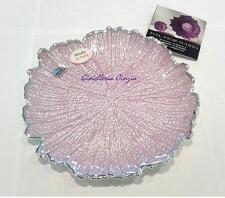 Piatto centrotavola cristallo e argento 999/1000 lilla diametro 20 cm