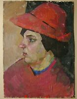 Russian Ukrainian Soviet Oil Painting girl portrait postimpressionism red hat