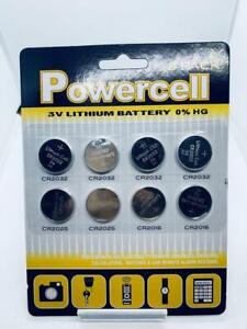 8 Powercell 3V Lithium Button Battery Pack CR2032 CR2025 CR2016 UK Stock