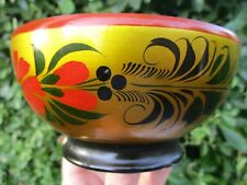 "Superb Vintage Soviet Era Khokhloma Lacquer Hand-painted 5"" Diameter Wooden Bowl"