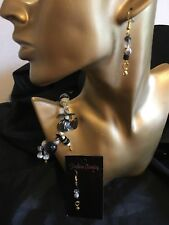 Handmade Clay Bead And Flower Stretch Elastic Bracelet & E/r  Set Black & White
