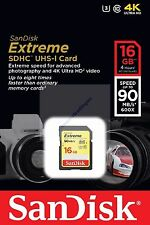 SANDISK EXTREME SDHC SD HC 16GB 16G 16 G UHS-I U3 CLASS 10 90MB NEW A