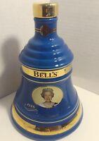 Empty - Bells Whiskey Decanter Queen Elizabeth B-day Commemorative Bottle-Blue