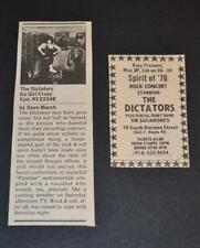THE DICTATORS 1976  SPIRIT OF 76 PROMOTIONAL CONCERT AD WITH GO GIRL LP REVIEW