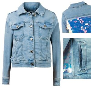 New Girls Denim & Co Jacket With Sequins-Ex Stock Age 3-4Y - 14-15 Years
