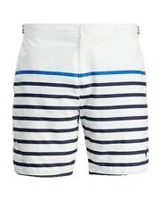 2ec413dc1079e Polo Ralph Lauren Men 7-Inch Monaco Striped Swim Trunk, White Stripe, Size