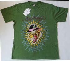 Ed Hardy NEW T Shirt Green Men's L Skull Roses