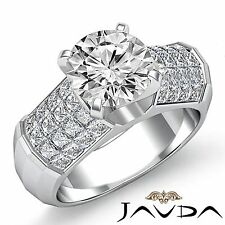 Round Diamond Engagement Invisible Set Ring GIA F Color VS2 14k White Gold 2.7ct