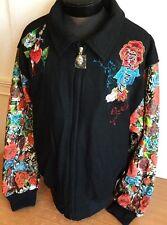 Kanji Jacket Bomber Wool Leather Sz 2XL Tattoo Sleeves Pattern Beautiful $329