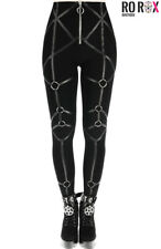 Restyle Rings Leggings Vegan Leather Straps Gothic Nugoth Punk High Waist Pants