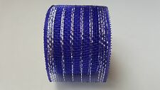 "2.5"" Blue with Silver thread Deco Mesh Ribbon"