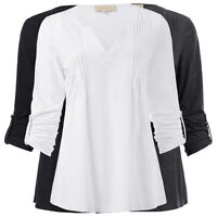 Women's Summer 3/4 Sleeve V-Neck Pleated Cotton T-Shirt Top Blouses Size S-XL