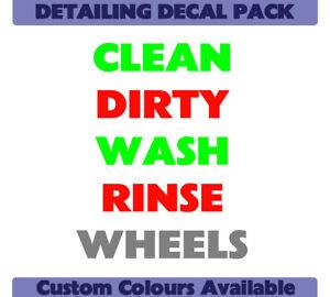 Detailing/Valeting Sticker Pack --Wash- Rinse -Wheels- Clean- Dirty--